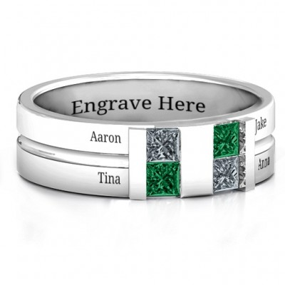 Sterling Silver Leonidas Grooved Men's Personalised Ring - AMAZINGNECKLACE.COM