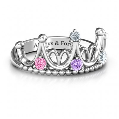 Sterling Silver Like A Dream Tiara Personalised Ring - AMAZINGNECKLACE.COM