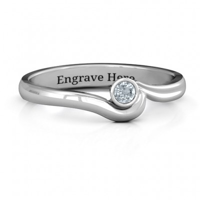 Sterling Silver Low Wave Personalised Ring - AMAZINGNECKLACE.COM