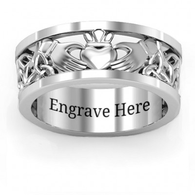 Sterling Silver Men's Celtic Claddagh Band Personalised Ring - AMAZINGNECKLACE.COM