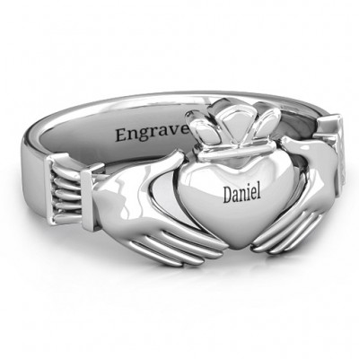 Sterling Silver Men's Classic Celtic Claddagh Personalised Ring - AMAZINGNECKLACE.COM