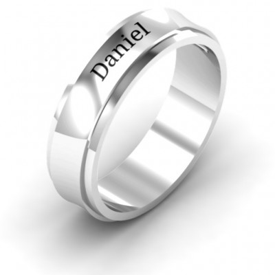 Sterling Silver Menelaus Bevelled Concave Men's Personalised Ring - AMAZINGNECKLACE.COM