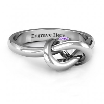 Sterling Silver Modern Infinity Heart Personalised Ring - AMAZINGNECKLACE.COM
