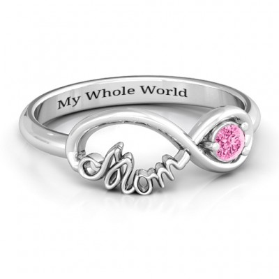 Sterling Silver Mom's Infinity Bond Personalised Ring - AMAZINGNECKLACE.COM