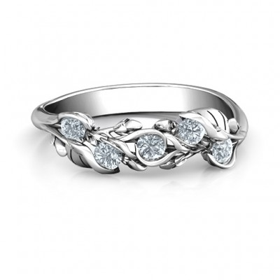 Sterling Silver Organic Leaf Five Stone Family Personalised Ring  - AMAZINGNECKLACE.COM