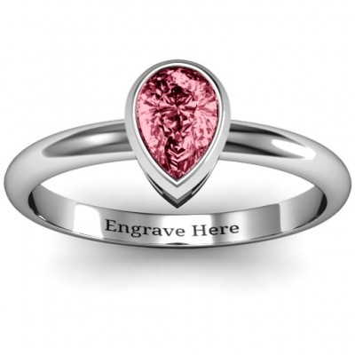 Sterling Silver Pear with Raised Bezel Set Personalised Ring - AMAZINGNECKLACE.COM