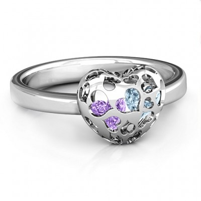 Sterling Silver Petite Caged Hearts Personalised Ring with 1-3 Stones  - AMAZINGNECKLACE.COM
