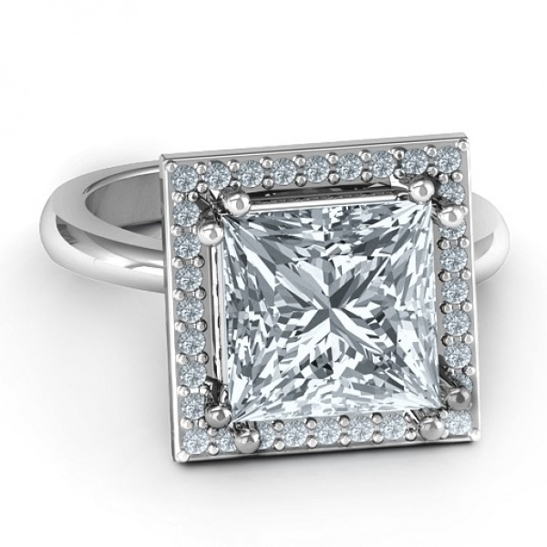 Sterling Silver Princess Cut Cocktail Personalised Ring with Halo - AMAZINGNECKLACE.COM