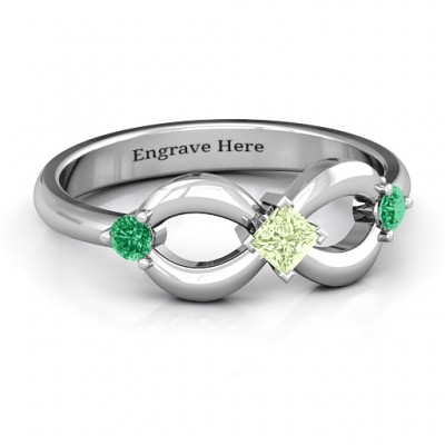 Sterling Silver Princess Infinity Personalised Ring - AMAZINGNECKLACE.COM