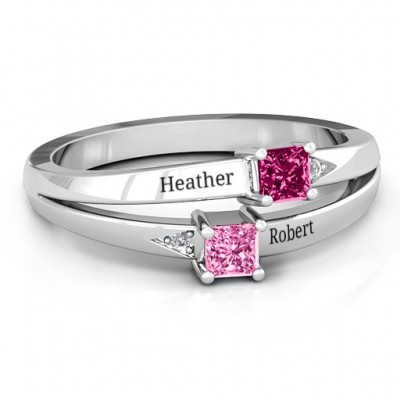 Sterling Silver Princess Stone and Accent Personalised Ring  - AMAZINGNECKLACE.COM