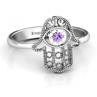 Sterling Silver Protection Hamsa Personalised Ring - AMAZINGNECKLACE.COM