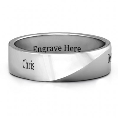 Sterling Silver Ridge Diagonal Peak Men's Personalised Ring - AMAZINGNECKLACE.COM