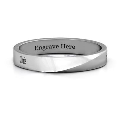 Sterling Silver Ridge Diagonal Peak Women's Personalised Ring - AMAZINGNECKLACE.COM