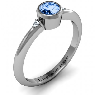 Sterling Silver Round Bezel Solitaire with Twin Accents Personalised Ring - AMAZINGNECKLACE.COM