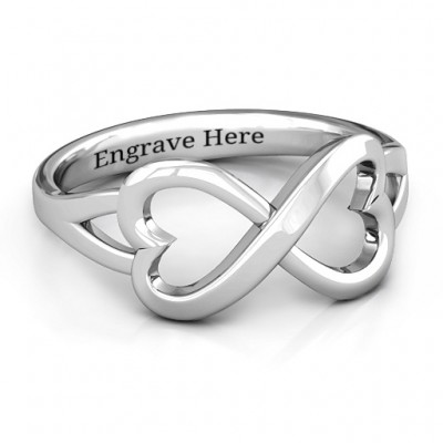 Sterling Silver Simple Double Heart Infinity Personalised Ring - AMAZINGNECKLACE.COM