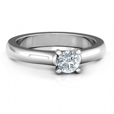 Sterling Silver Simply Solitaire Personalised Ring - AMAZINGNECKLACE.COM