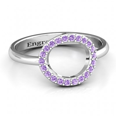 Sterling Silver Single Accented Circle Karma Personalised Ring - AMAZINGNECKLACE.COM
