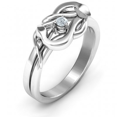 Sterling Silver Snake Lover's Knot Personalised Ring - AMAZINGNECKLACE.COM