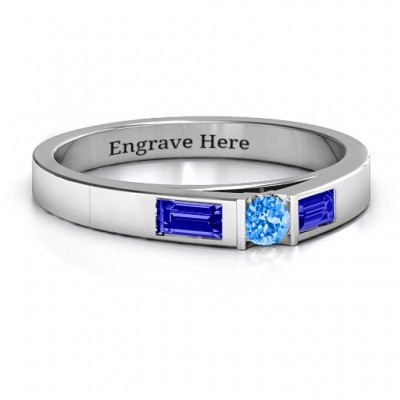 Sterling Silver Solitaire Bridge Personalised Ring with Baguette Accents - AMAZINGNECKLACE.COM