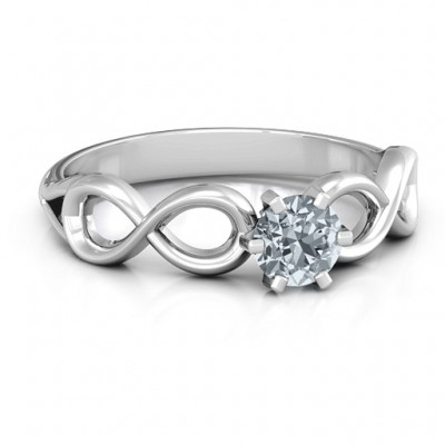 Sterling Silver Solitaire Infinity Personalised Ring - AMAZINGNECKLACE.COM