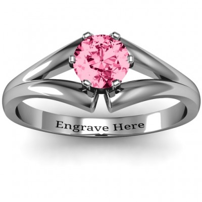 Sterling Silver Solitaire Split Shank Personalised Ring - AMAZINGNECKLACE.COM