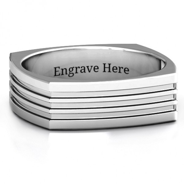 Sterling Silver Stria Grooved Square-shaped Men's Personalised Ring - AMAZINGNECKLACE.COM