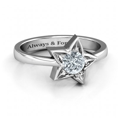 Sterling Silver Superstar Personalised Ring - AMAZINGNECKLACE.COM