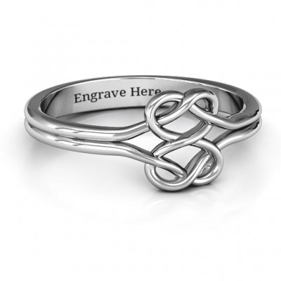 Sterling Silver Tangled Hearts Infinity Personalised Ring - AMAZINGNECKLACE.COM