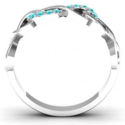 Sterling Silver Triple Entwined Infinity Personalised Ring with Accents - AMAZINGNECKLACE.COM