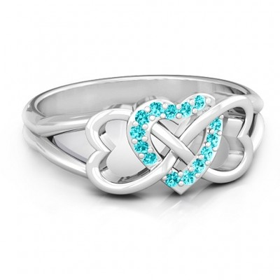 Sterling Silver Triple Heart Infinity Personalised Ring with Mint Swarovski Zirconia Stones  - AMAZINGNECKLACE.COM
