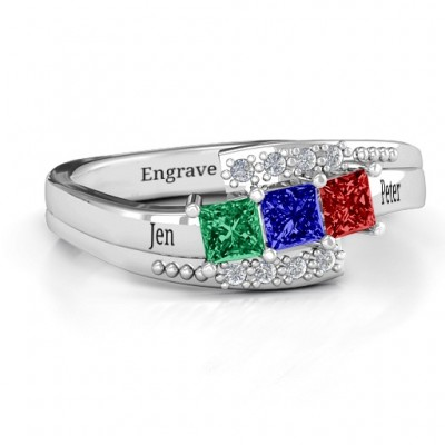 Sterling Silver Triple Princess Stone Personalised Ring with Accents  - AMAZINGNECKLACE.COM