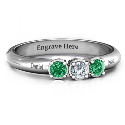 Sterling Silver Triple Round Stone Personalised Ring  - AMAZINGNECKLACE.COM