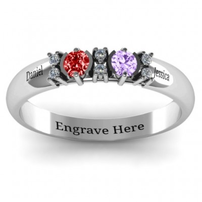 Sterling Silver Twin Circular Half Bezel Twin Accent Personalised Ring - AMAZINGNECKLACE.COM
