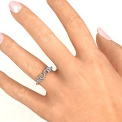 Sterling Silver Two Hearts to Infinity Personalised Ring - AMAZINGNECKLACE.COM