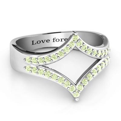 Symmetrical Sparkle Personalised Ring - AMAZINGNECKLACE.COM