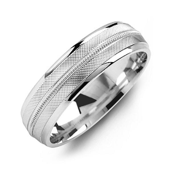 Textured Men's Personalised Ring with Centre Milgrain Detail - AMAZINGNECKLACE.COM