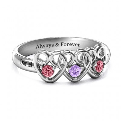 Three's Company Triple Heart Gemstone Personalised Ring  - AMAZINGNECKLACE.COM