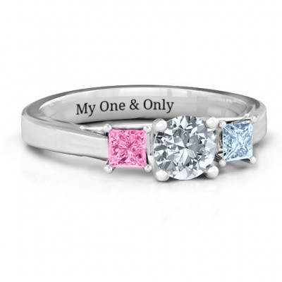 Three Stone Eternity with Princess Accents Personalised Ring  - AMAZINGNECKLACE.COM