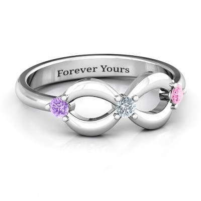 Three Stone Infinity Personalised Ring  - AMAZINGNECKLACE.COM