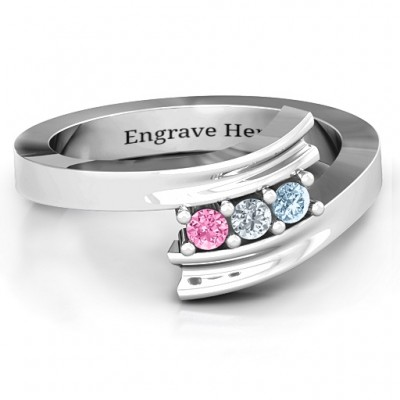Three Stone Ridged Bypass Personalised Ring  - AMAZINGNECKLACE.COM