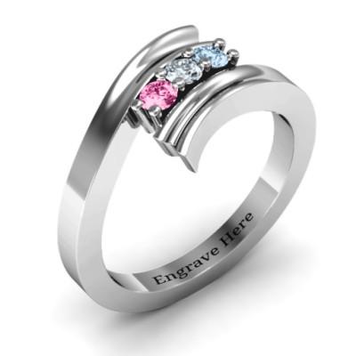 Three Stone Ridged Bypass Personalised Ring  - AMAZINGNECKLACE.COM