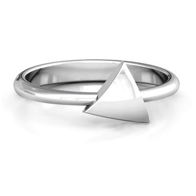 Triangle Pebble Geometric Personalised Ring - AMAZINGNECKLACE.COM