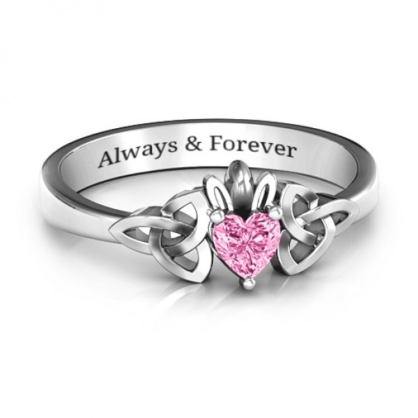 Trinity Knot Heart Crown Personalised Ring - AMAZINGNECKLACE.COM