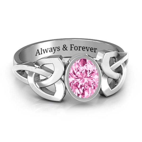 Trinity Knot Personalised Ring With Bezel-Set Oval Stone  - AMAZINGNECKLACE.COM