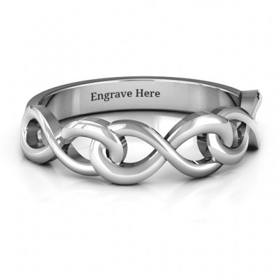 Triple Entwined Infinity Personalised Ring - AMAZINGNECKLACE.COM