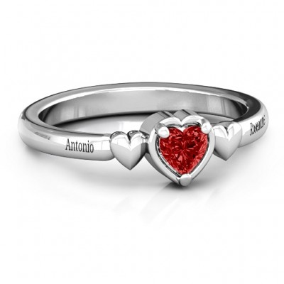 Triple Heart Personalised Ring - AMAZINGNECKLACE.COM