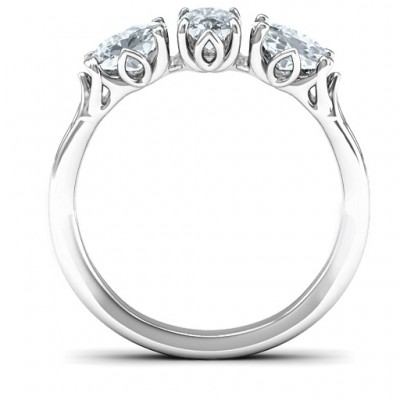 Triple Oval Stone Engagement Personalised Ring  - AMAZINGNECKLACE.COM