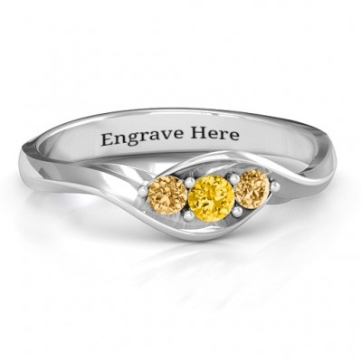 Triple Stone Swirl Personalised Ring  - AMAZINGNECKLACE.COM