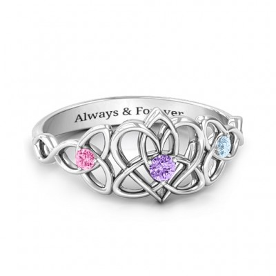 Triple Trinity Celtic Heart Personalised Ring - AMAZINGNECKLACE.COM