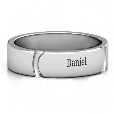 Tungsten Lysander Curved Groove Men's Personalised Ring - AMAZINGNECKLACE.COM